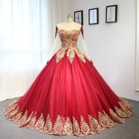 Luxury Wine Red With Golden Lace Wedding Dress Ball Gown With Sleeves