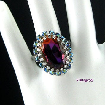 Vintage Ring Costume Rhinestone Heliotrope Adjustable