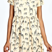 Beth Woven Animal Print Smock Dress