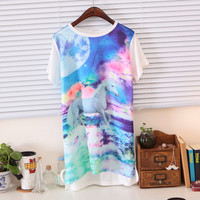 Spring Unicorn Print Fantasy Short Sleeves Asymmetric Tee