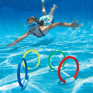 4Pcs/Set Dive Ring Set Swimming Aid for Children Water Play Sport Diving Beach Summer Fun Toy Kids Pool Swimming Pool Accessory
