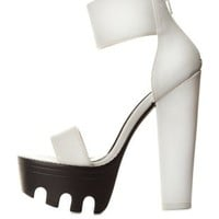 White Single Strap Chunky Lug Platform Heels by Charlotte Russe