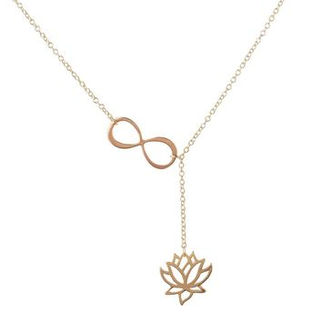 "Shuangshuo 2017 Fashion Infinity Lotus Lariat Pendant Necklace for Women 18"" Link Chain Plant Lotus Flower Jewelry Necklaces"