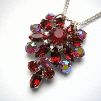 Aurora borealis rhinestone necklace, red, vintage repurposed, handmade