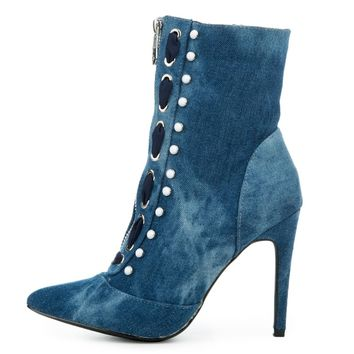 Cape Robbin Gigi-17 Women's Denim Bootie