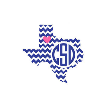 "Texas Monogram Decal- 2"", 3"", 4"", 5"", 6"", 7"", 8"", 9"", 10"", 11""- Color and Glitter Options"