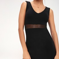 Best of the Mesh Black Mesh Bodycon Dress