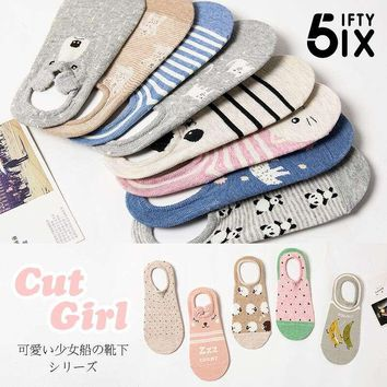 3D cute cartoon animal pattern invisible cotton boat socks for women summer fashion low socks ladies sock slippers 2pairs/box