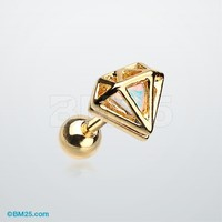 Golden Urban Iridescent Diamond Cartilage Tragus Earring