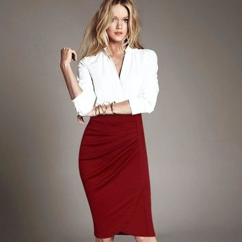 Women Plus Size Vintage Pleated Frill Ruched High Waist Business Casual Wear To Work Office Party Pencil Sheath Midi Skirt