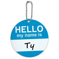 Ty Hello My Name Is Round ID Card Luggage Tag