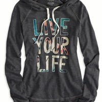 AEO Women's Live Your Life Hoodie T-shirt (Ebony Grey)