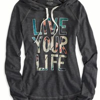 AEO 's Live Your Life Hoodie T-shirt (Ebony Grey)