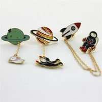 Fashion Vintage  Enamel 3 style Spaceman Planet Charm Costume Brooch Pins Jewelry Accessories for  Women's girl brooch badge
