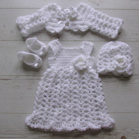 Christening outift , Newborn take home outfit set first outfit take home baby dress bolero blanket shoes hat white  baby clothes