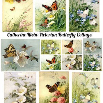 Vintage Catherine Klein Butterfly Collage Sheet Card Making, Altered Art, Scrapbooking