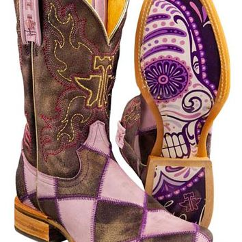Tin Haul Sugar Skull Checkerboard Cowgirl Boots - Square Toe - Sheplers