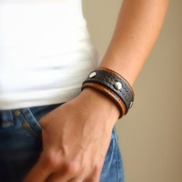 Leather Cuff - Leather Bracelet Brown - Tan Leather