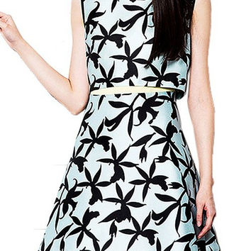 Leaves Printed Skater Mini Dress