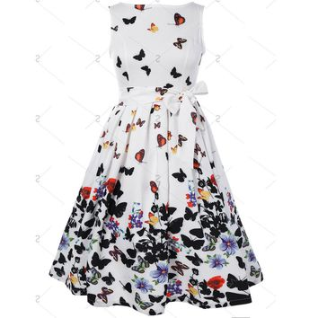 New 2017 Women Fashion Butterfly Floral Vintage Pleat Swing Dresses Summer Sleeveless Zipper Sashes Dress Retro Party Dresses