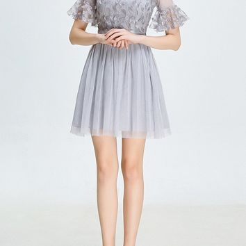 Grey Patchwork Grenadine Ruffle Feather Fluffy Puffy Tulle Bridesmaid Party Mini Dress