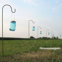 Hanging Jars with Hooks Wedding Aisle Flower Vases or Wedding Candles, 6 Ball Mason Jars, Hangers, and Shepherd Hooks