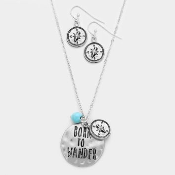 """Born To Wander"" Compass Charm Necklace"