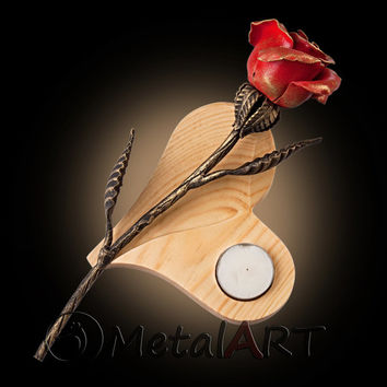 Metal Rose + Wood-Heart Stand tea light Holder/ Metal Sculpture/ Metal Artwork/ Romantic Gift/ Steel Rose/ Wood Art/ 11th Anniversary