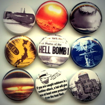 "Atom Atomic Nuclear Bomb 9 Pinback 1"" Buttons Badges Pins"