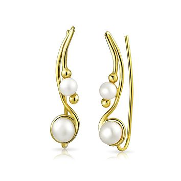 White Freshwater Cultured Pearl Wire Ear Pin Climbers Earrings For