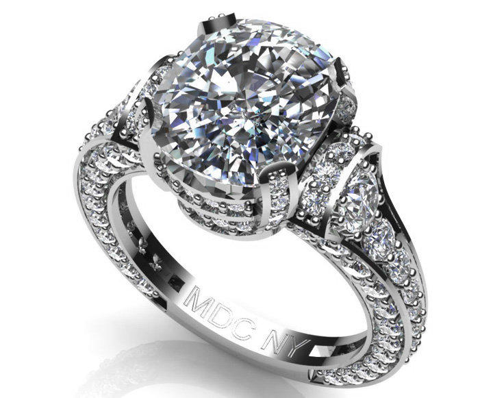 Engagement Ring - Large Cushion Diamond Cathedral Graduated pave Engagement Ring 1.25 tcw. In 14K White Gold - ES745CUWG