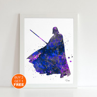 Darth Vader Star Wars print, watercolor illustration , Vader poster 2, geek art print, Star Wars art  print, dark side, Sith lord