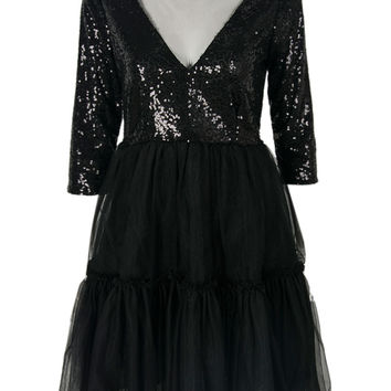 Black Sheer Panel Sequins Layered Tulle Bottom Skater Dress