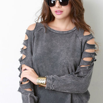 Mineral Washed Distressed Sleeves Sweatshirt in Charcoal