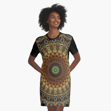 'Mandala in brown and orange colors' Graphic T-Shirt Dress by JBlaminsky