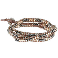 Rose Gold & Mixed Metal Leather Wrap Bracelet | Wonderlust Triple Wrap | Stella & Dot