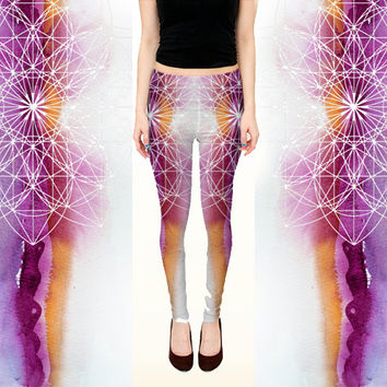 Sacred Geometry Leggings - Ombre Gradient Festival Clothing - Rave Wear - White Purple Pink Sacred Geometry Visionary Art Clothing