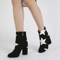 Afra Silver Star Print Ankle Boots in Black Faux Suede