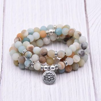 Hot Fashion Women bracelet Matte Frosted Amazonite beads with Lotus OM Buddha Charm Yoga Bracelet 108 mala necklace dropshipping