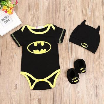 2018 Newest Baby Boy Clothes Set Cool Batman Newborn Infant Baby Boys Romper+Sock+Hat 3pcs Outfits Set Clothes For 0-2Y