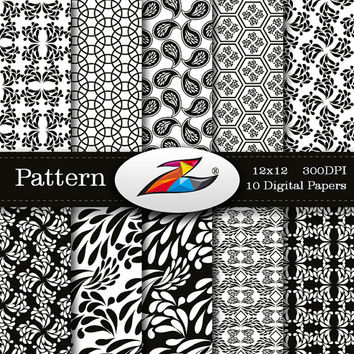 Labor Day Sale Black White Digital Paper paisley background Scrapbook paper Monochrome Digital Paper Printable Paper Black White pattern