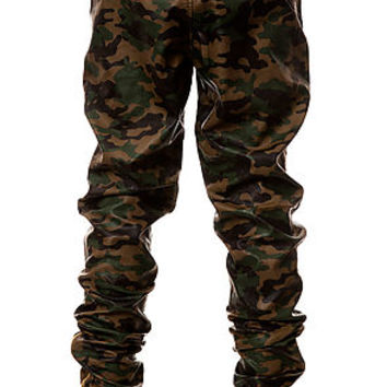 The Ages Vegan Leather Jogger Pants in Dark Wood Camo