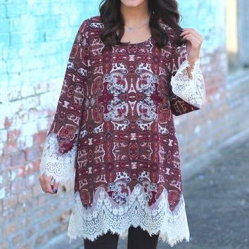 Swept Away by Fall Tunic/Dress {Burgundy}