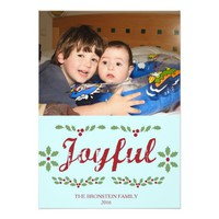 JOYFUL Christmas Photo Card Light Blue Background