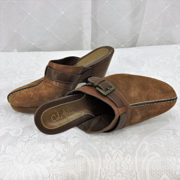 Cole Haan vintage leather clogs size 6 B, Brazilian made brown suede leather clogs / mules with wooden heels boho hippie SunnyBohovintage