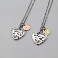 Two Tones You are always in my heart  Mother daughter necklace personalized gifts girlfriend gift best friend gift