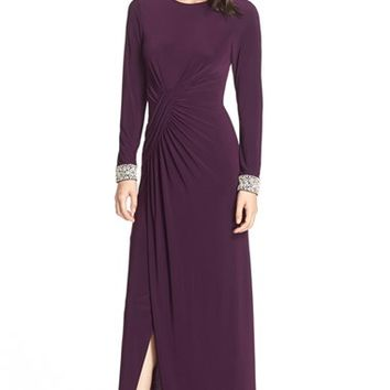 Vince Camuto Beaded Cuff Ruched Jersey Gown | Nordstrom