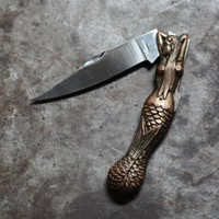 Vintage Brass Mermaid Siren Pocket Knife