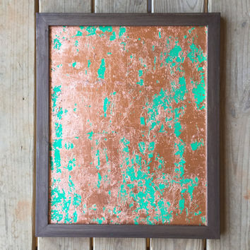 Copper Painting, Copper Leaf, Green Wall Art, Abstract Art, Acrylic Painting, Original Painting, 16x20 Canvas Panel, Modern Art, Green, Gold