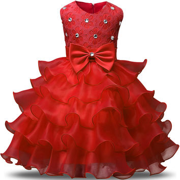 Flower Girl Dress For Princess Lace Evening Gown Kids Christening Events Party Wear Baby Girls Prom Dresses Children Clothes